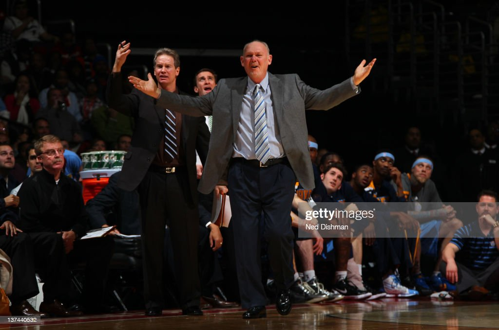 Head Coach <a gi-track='captionPersonalityLinkClicked' href=/galleries/search?phrase=George+Karl&family=editorial&specificpeople=204519 ng-click='$event.stopPropagation()'>George Karl</a> of the Denver Nuggets reacts against the Washington Wizards during the game at the Verizon Center on January 20, 2012 in Washington, DC.