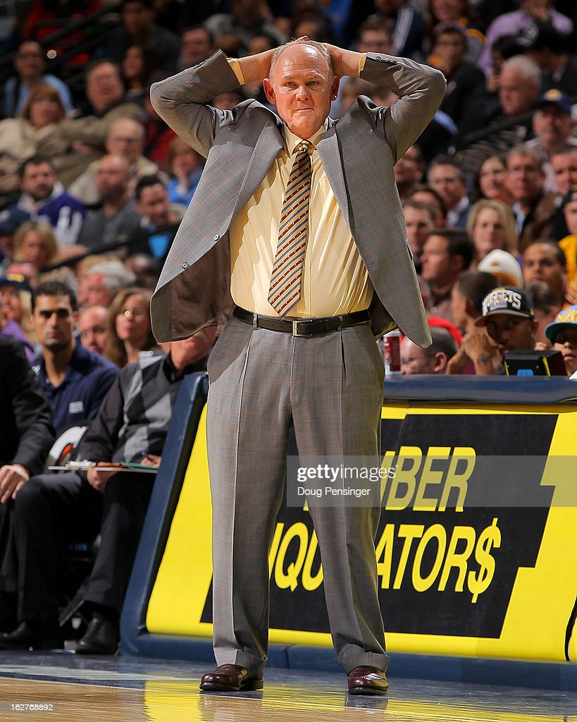 Head coach George Karl of the Denver Nuggets reacts as he leads his team against the Los Angeles Lakers at the Pepsi Center on February 25, 2013 in Denver, Colorado. The Nuggets defeated the Lakers 119-108.