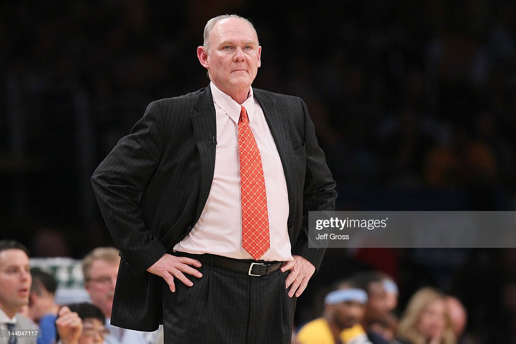 Head coach <a gi-track='captionPersonalityLinkClicked' href=/galleries/search?phrase=George+Karl&family=editorial&specificpeople=204519 ng-click='$event.stopPropagation()'>George Karl</a> of the Denver Nuggets reacts in the first half against the Los Angeles Lakers in Game Five of the Western Conference Quarterfinals in the 2012 NBA Playoffs on May 8, 2012 at Staples Center in Los Angeles, California.
