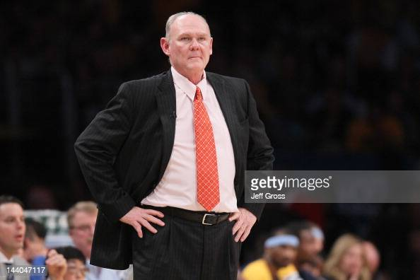 Head coach George Karl of the Denver Nuggets reacts in the first half against the Los Angeles Lakers in Game Five of the Western Conference...
