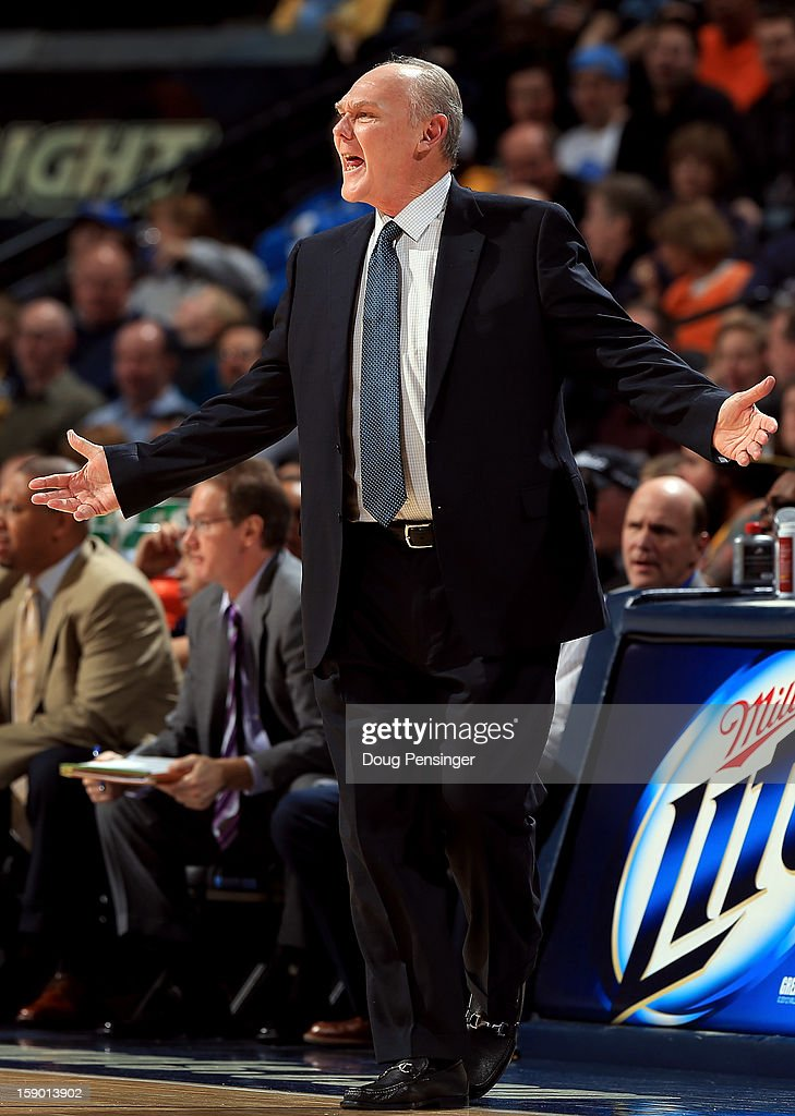 Head coach George Karl of the Denver Nuggets reacts to a call as he leads his team against the Utah Jazz at the Pepsi Center on January 5, 2013 in Denver, Colorado.