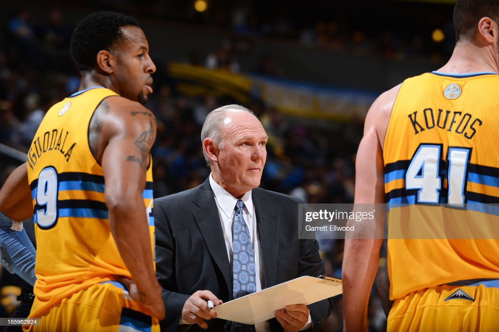 Head Coach <a gi-track='captionPersonalityLinkClicked' href=/galleries/search?phrase=George+Karl&family=editorial&specificpeople=204519 ng-click='$event.stopPropagation()'>George Karl</a> of the Denver Nuggets speaks to <a gi-track='captionPersonalityLinkClicked' href=/galleries/search?phrase=Andre+Iguodala&family=editorial&specificpeople=201980 ng-click='$event.stopPropagation()'>Andre Iguodala</a> #9 and <a gi-track='captionPersonalityLinkClicked' href=/galleries/search?phrase=Kosta+Koufos&family=editorial&specificpeople=4216032 ng-click='$event.stopPropagation()'>Kosta Koufos</a> #41 during a game against the Utah Jazz on November 9, 2012 at the Pepsi Center in Denver, Colorado.