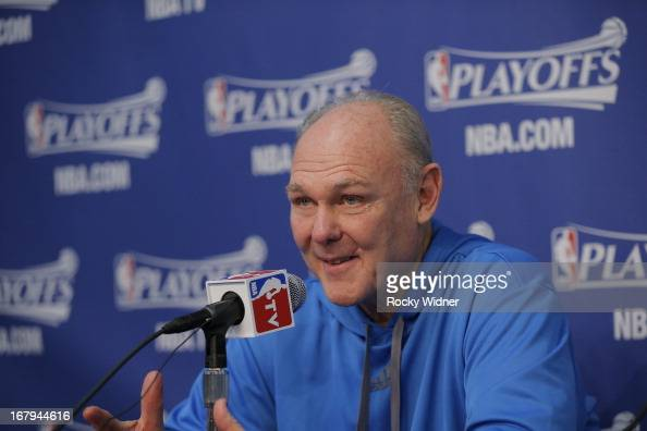 Head Coach George Karl of the Denver Nuggets speaks to the media after his team is defeated by the Golden State Warriors in Game Six of the Western...