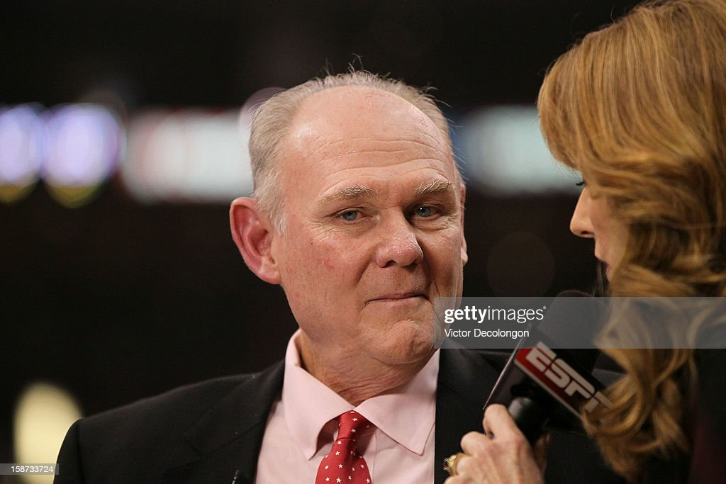 Head Coach George Karl of the Denver Nuggets takes a question from the media at the half of the NBA game between the Denver Nuggets and the Los Angeles Clippers at Staples Center on December 25, 2012 in Los Angeles, California. The Clippers defeated the Nuggets 112-100.