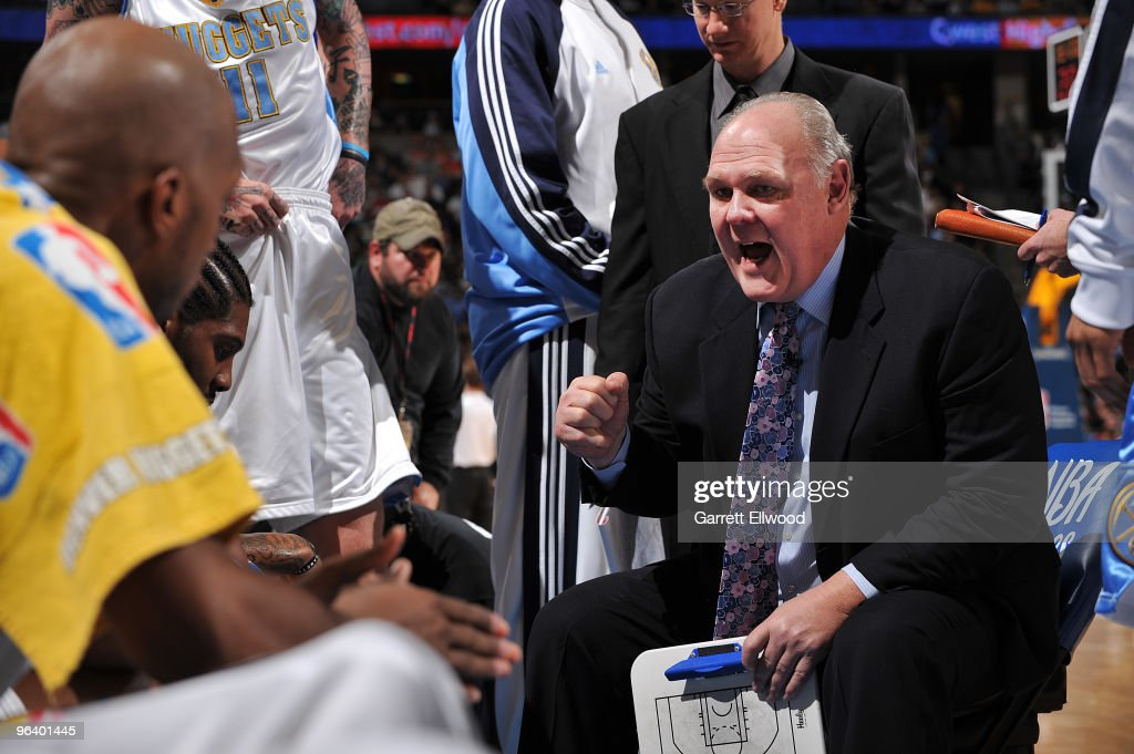 Head coach <a gi-track='captionPersonalityLinkClicked' href=/galleries/search?phrase=George+Karl&family=editorial&specificpeople=204519 ng-click='$event.stopPropagation()'>George Karl</a> of the Denver Nuggets talks to his team during a time out against the Phoenix Suns on February 3, 2010 at the Pepsi Center in Denver, Colorado.
