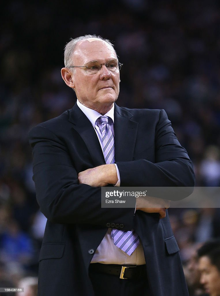 Head coach <a gi-track='captionPersonalityLinkClicked' href=/galleries/search?phrase=George+Karl&family=editorial&specificpeople=204519 ng-click='$event.stopPropagation()'>George Karl</a> of the Denver Nuggets walks the sideline during their game against the Golden State Warriors at Oracle Arena on November 29, 2012 in Oakland, California.