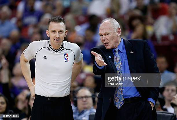 Head coach George Karl of the Sacramento Kings argues a call with referee Justin Van Duyne at Sleep Train Arena on April 3 2015 in Sacramento...