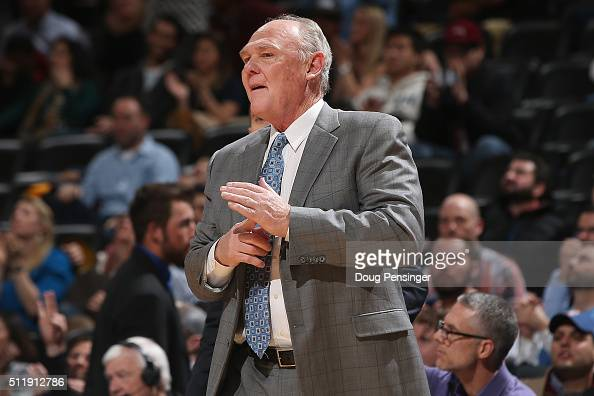 Head coach George Karl of the Sacramento Kings calls a time out against the Denver Nuggets at Pepsi Center on February 23 2016 in Denver Colorado The...