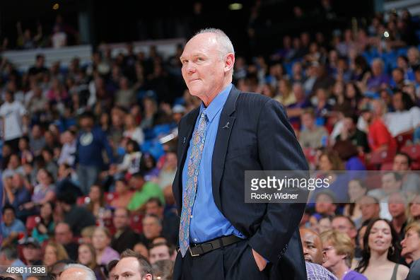 Head coach George Karl of the Sacramento Kings coaches against the New Orleans Pelicans on April 3 2015 at Sleep Train Arena in Sacramento California...