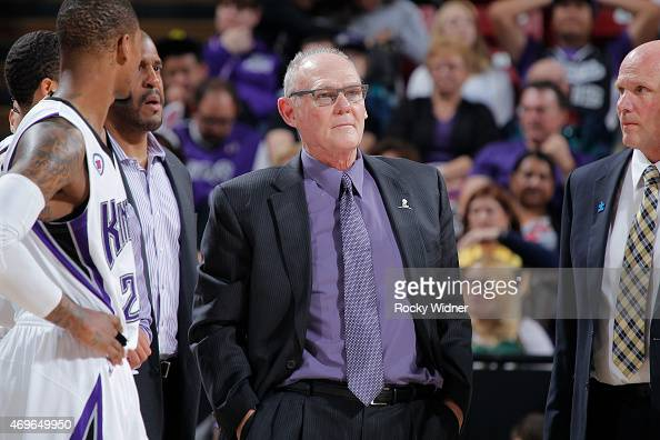 Head coach George Karl of the Sacramento Kings coaches against the Utah Jazz on April 5 2015 at Sleep Train Arena in Sacramento California NOTE TO...