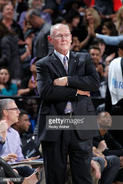 Head coach George Karl of the Sacramento Kings coaches against the Los Angeles Lakers on April 13 2015 at Sleep Train Arena in Sacramento California...