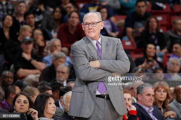 Head coach George Karl of the Sacramento Kings coaches against the Utah Jazz on December 8 2015 at Sleep Train Arena in Sacramento California NOTE TO...