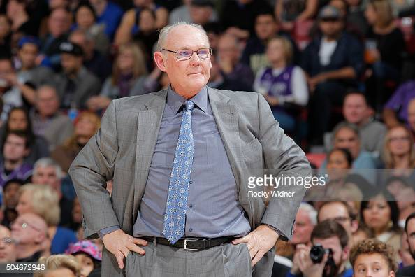 Head coach George Karl of the Sacramento Kings coaches against the Golden State Warriors on January 9 2016 at Sleep Train Arena in Sacramento...