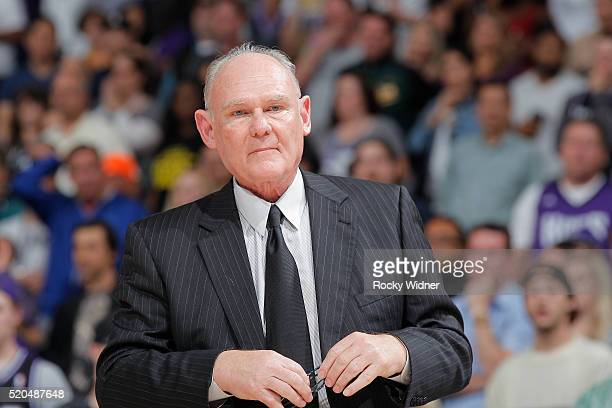 Head coach George Karl of the Sacramento Kings coaches against the Miami Heat on April 1 2016 at Sleep Train Arena in Sacramento California NOTE TO...
