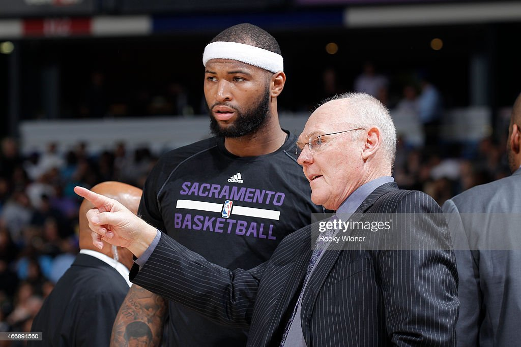 Head coach <a gi-track='captionPersonalityLinkClicked' href=/galleries/search?phrase=George+Karl&family=editorial&specificpeople=204519 ng-click='$event.stopPropagation()'>George Karl</a> of the Sacramento Kings coaches <a gi-track='captionPersonalityLinkClicked' href=/galleries/search?phrase=DeMarcus+Cousins&family=editorial&specificpeople=5792008 ng-click='$event.stopPropagation()'>DeMarcus Cousins</a> #15 against the Atlanta Hawks on March 16, 2015 at Sleep Train Arena in Sacramento, California.