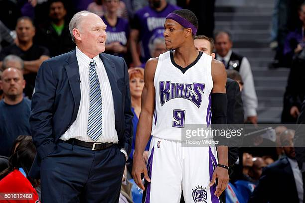 Head coach George Karl of the Sacramento Kings coaches Rajon Rondo against the New York Knicks on December 10 2015 at Sleep Train Arena in Sacramento...