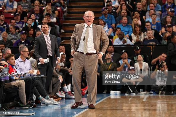 Head coach George Karl of the Sacramento Kings complains about a call during their game against the Los Angeles Clippers at Sleep Train Arena on...