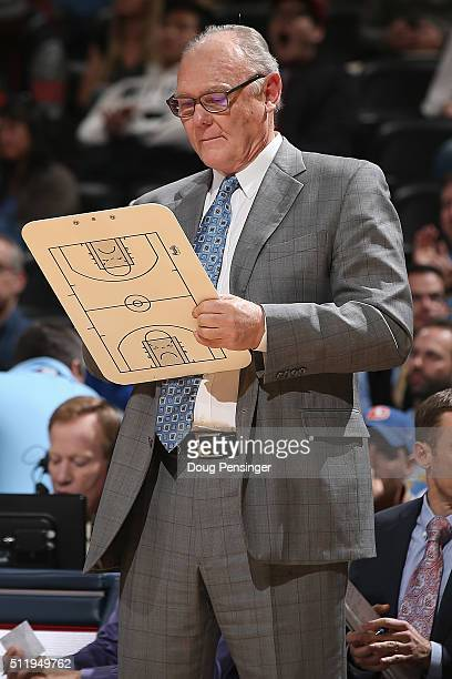 Head coach George Karl of the Sacramento Kings leads his team against the Denver Nuggets at Pepsi Center on February 23 2016 in Denver Colorado The...
