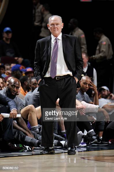 Head Coach George Karl of the Sacramento Kings looks on during the game against the Cleveland Cavaliers on February 8 2016 at Quicken Loans Arena in...