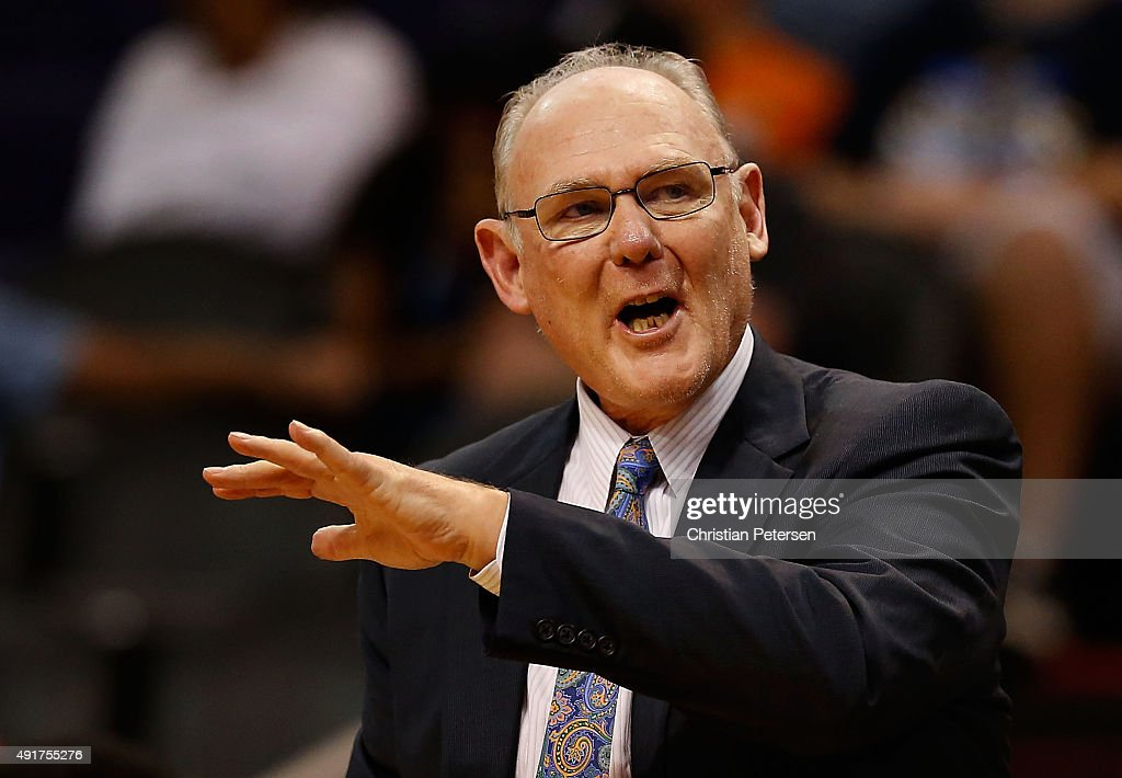 Head coach <a gi-track='captionPersonalityLinkClicked' href=/galleries/search?phrase=George+Karl&family=editorial&specificpeople=204519 ng-click='$event.stopPropagation()'>George Karl</a> of the Sacramento Kings reacts during the second half of the preseason NBA game against the Phoenix Suns at Talking Stick Resort Arena on October 7, 2015 in Phoenix, Arizona.