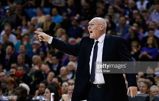 Head coach George Karl of the Sacramento Kings reacts during their game against the Memphis Grizzlies at Sleep Train Arena on February 25 2015 in...