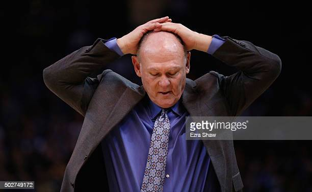 Head coach George Karl of the Sacramento Kings reacts during their game against the Golden State Warriors at ORACLE Arena on December 28 2015 in...