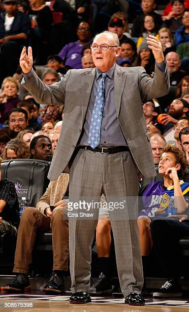 Head coach George Karl of the Sacramento Kings stands on the side of the court during their game against the Golden State Warriors at Sleep Train...