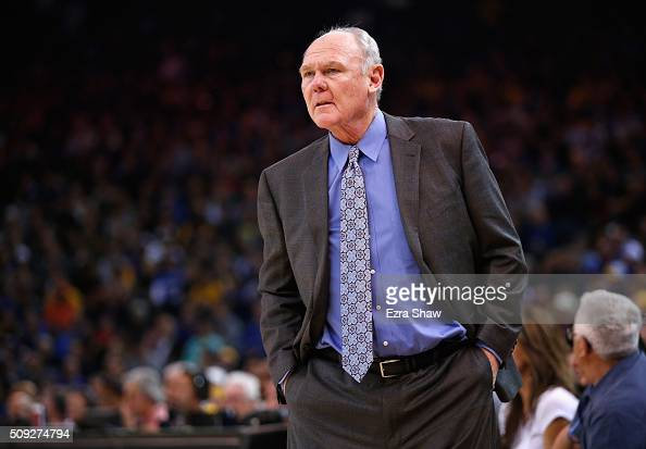 Head coach George Karl of the Sacramento Kings stands on the side of the court during their game against the Golden State Warriors at ORACLE Arena on...