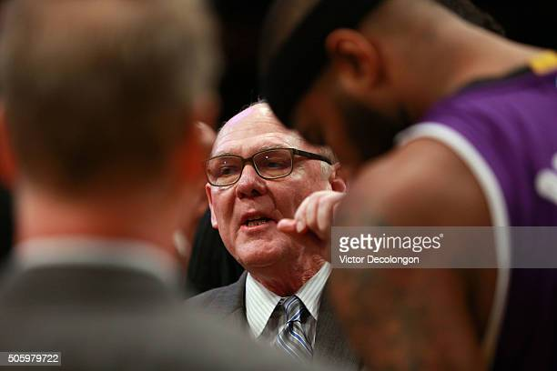 Head coach George Karl of the Sacramento Kings talks to his players priro to the NBA game against the Los Angeles Lakers at Staples Center on January...