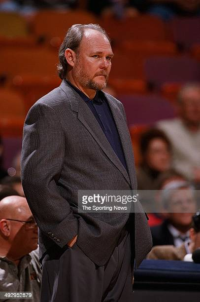 Head coach George Karl of the Seattle SuperSonics watches the action against the Houston Rockets on January 19 1998 at the Compaq Center in Houston...
