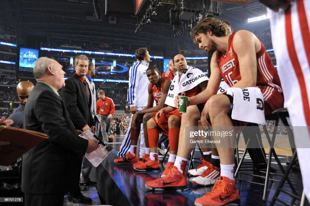Head Coach <a gi-track='captionPersonalityLinkClicked' href=/galleries/search?phrase=George+Karl&family=editorial&specificpeople=204519 ng-click='$event.stopPropagation()'>George Karl</a> talks to the Western Conference during the NBA All-Star Game, part of 2010 NBA All-Star Weekend on February 14, 2010 at Cowboys Stadium in Arlington, Texas.