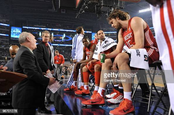 Head Coach George Karl talks to the Western Conference during the NBA AllStar Game part of 2010 NBA AllStar Weekend on February 14 2010 at Cowboys...