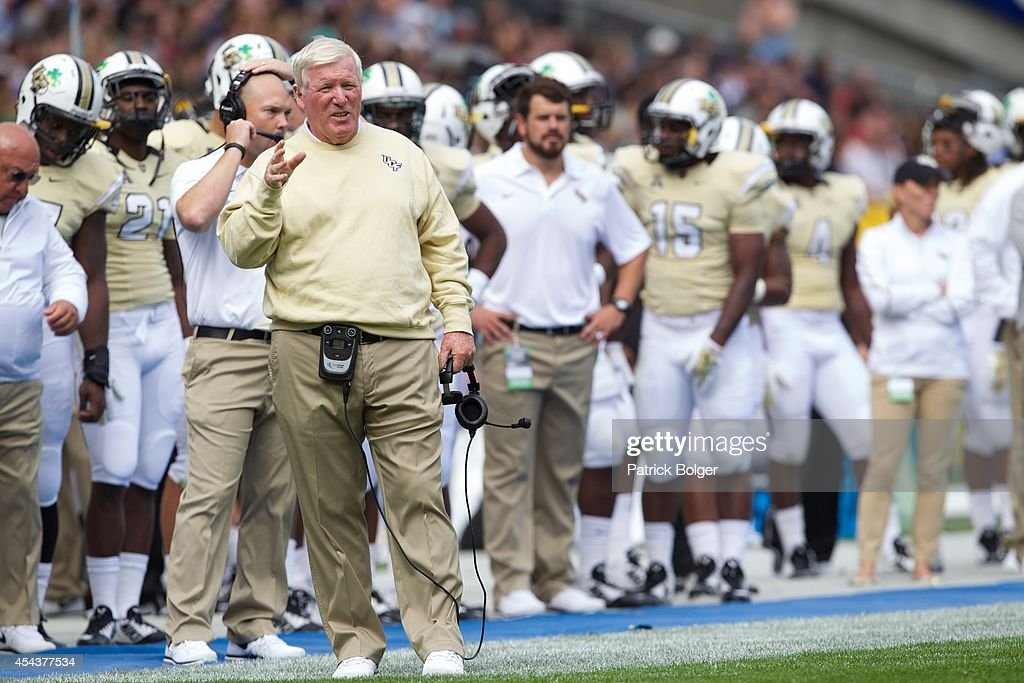 UCF Head Coach <a gi-track='captionPersonalityLinkClicked' href=/galleries/search?phrase=George+O%27Leary&family=editorial&specificpeople=2259273 ng-click='$event.stopPropagation()'>George O'Leary</a> during the Croke Park Classic American Football match between Penn State v Central Florida at Croke Park Stadium on August 30, 2014 in Dublin, Ireland.