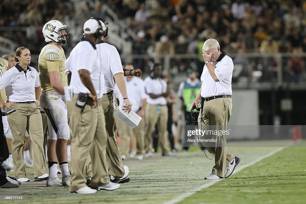 Head coach <a gi-track='captionPersonalityLinkClicked' href=/galleries/search?phrase=George+O%27Leary&family=editorial&specificpeople=2259273 ng-click='$event.stopPropagation()'>George O'Leary</a> of the UCF Knights reacts during an NCAA football game between the Furman Paladins and the UCF Knights at Bright House Networks Stadium on September 19, 2015 in Orlando, Florida. Furman won the game by a score of 16-15.