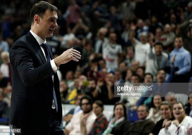 Head coach Georgios Bartzokas of Barcelona Lassa reacts during the Turkish Airlines Euroleague basketball match between Real Madrid and Barcelona...
