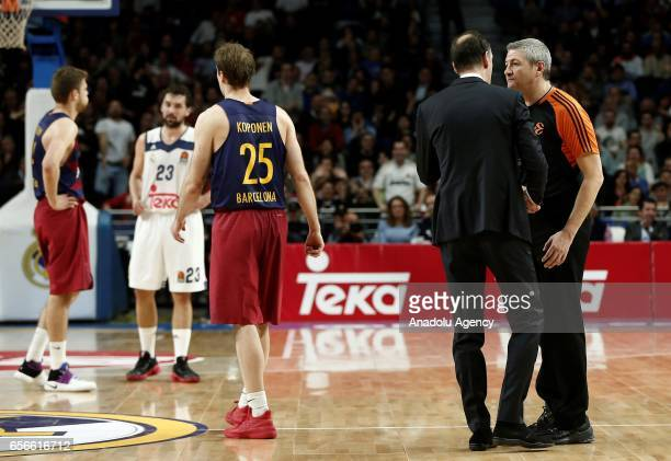 Head coach Georgios Bartzokas of Barcelona Lassa speaks to referee during the Turkish Airlines Euroleague basketball match between Real Madrid and...