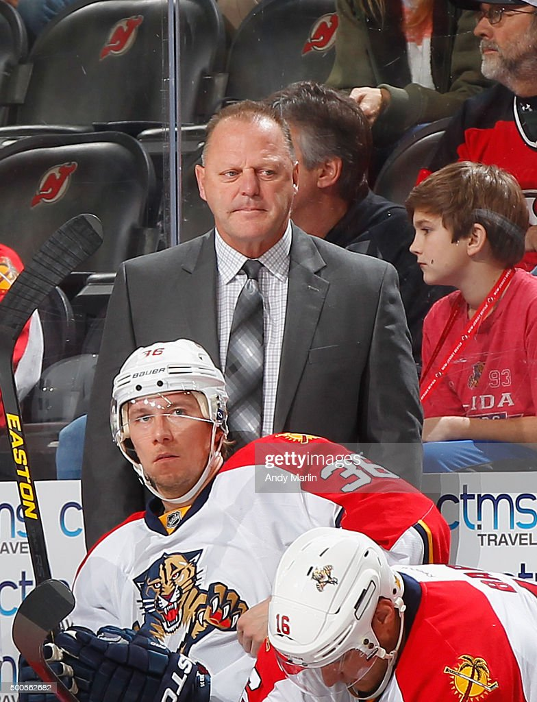 Head coach <a gi-track='captionPersonalityLinkClicked' href=/galleries/search?phrase=Gerard+Gallant&family=editorial&specificpeople=704668 ng-click='$event.stopPropagation()'>Gerard Gallant</a> of the Florida Panthers looks on against the New Jersey Devils during the game at the Prudential Center on December 6, 2015 in Newark, New Jersey.