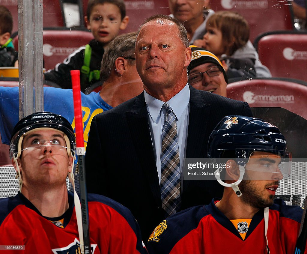 Head Coach <a gi-track='captionPersonalityLinkClicked' href=/galleries/search?phrase=Gerard+Gallant&family=editorial&specificpeople=704668 ng-click='$event.stopPropagation()'>Gerard Gallant</a> of the Florida Panthers on the bench prior to the start of the game against the Boston Bruins at the BB&T Center on April 9, 2015 in Sunrise, Florida.