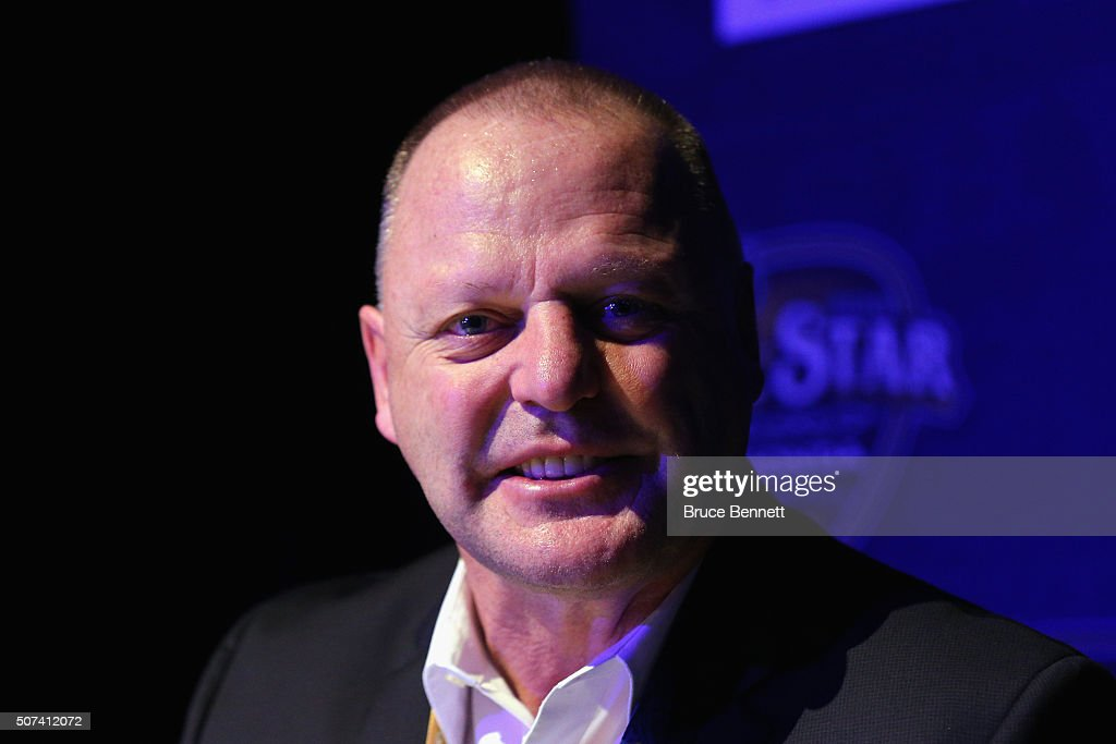 Head coach <a gi-track='captionPersonalityLinkClicked' href=/galleries/search?phrase=Gerard+Gallant&family=editorial&specificpeople=704668 ng-click='$event.stopPropagation()'>Gerard Gallant</a> of the Florida Panthers speaks during Media Day for the 2016 NHL All-Star Game at Bridgestone Arena on January 29, 2016 in Nashville, Tennessee.