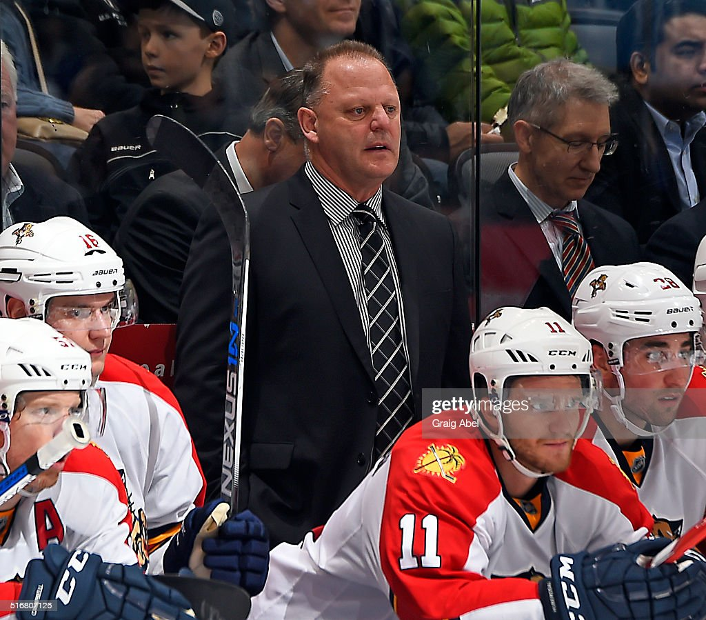 Head coach <a gi-track='captionPersonalityLinkClicked' href=/galleries/search?phrase=Gerard+Gallant&family=editorial&specificpeople=704668 ng-click='$event.stopPropagation()'>Gerard Gallant</a> of the Florida Panthers watches the play develop against the Toronto Maple Leafs during game action on March 17, 2016 at Air Canada Centre in Toronto, Ontario, Canada.
