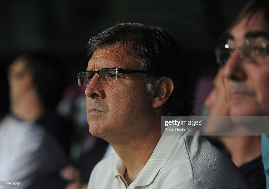 Head coach Gerardo Martino of FC Barcelona looks on during the La Liga match between Malaga CF and FC Barcelona at La Rosaleda Stadium on August 25, 2013 in Malaga, Spain.