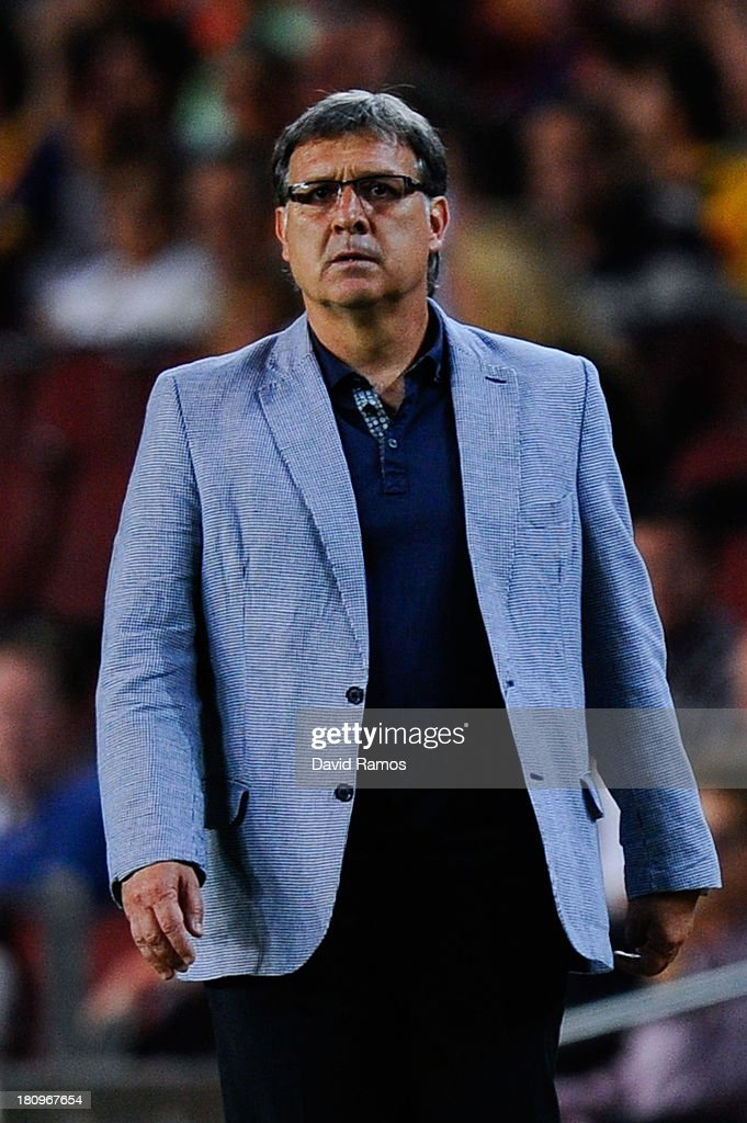 Head coach Gerardo 'Tata' Martino of FC Barcelona looks on during the UEFA Champions League Group H match between FC Barcelona and Ajax Amsterdam ag the Camp Nou stadium on September 18, 2013 in Barcelona, Spain.