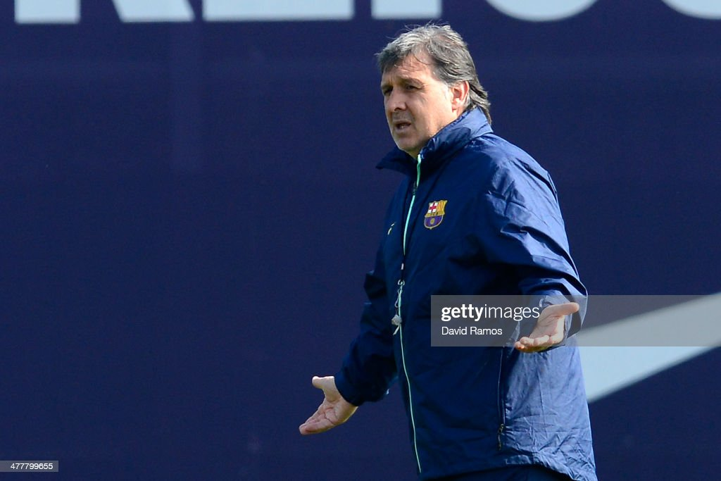 Head coach Gerardo 'Tata' Martino of FC Barcelona reacts during a training session ahead the UEFA Champions League Round of 16 second Leg match against Manchester City at the Sant Joan Despi Sport Complex on March 11, 2014 in Barcelona, Spain.