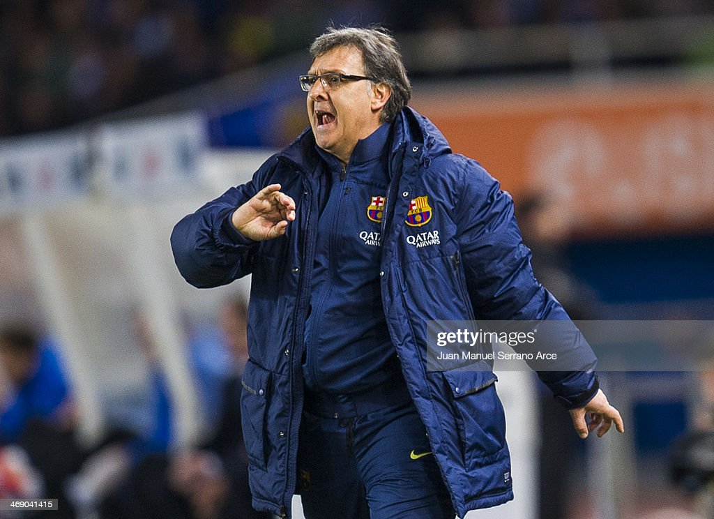Head coach Gerardo Tata Martino of FC Barcelona reacts during the Copa del Rey Semi-Final first leg match betweenReal Sociedad and Barcelona at Estadio Anoeta on February 12, 2014 in San Sebastian, Spain.