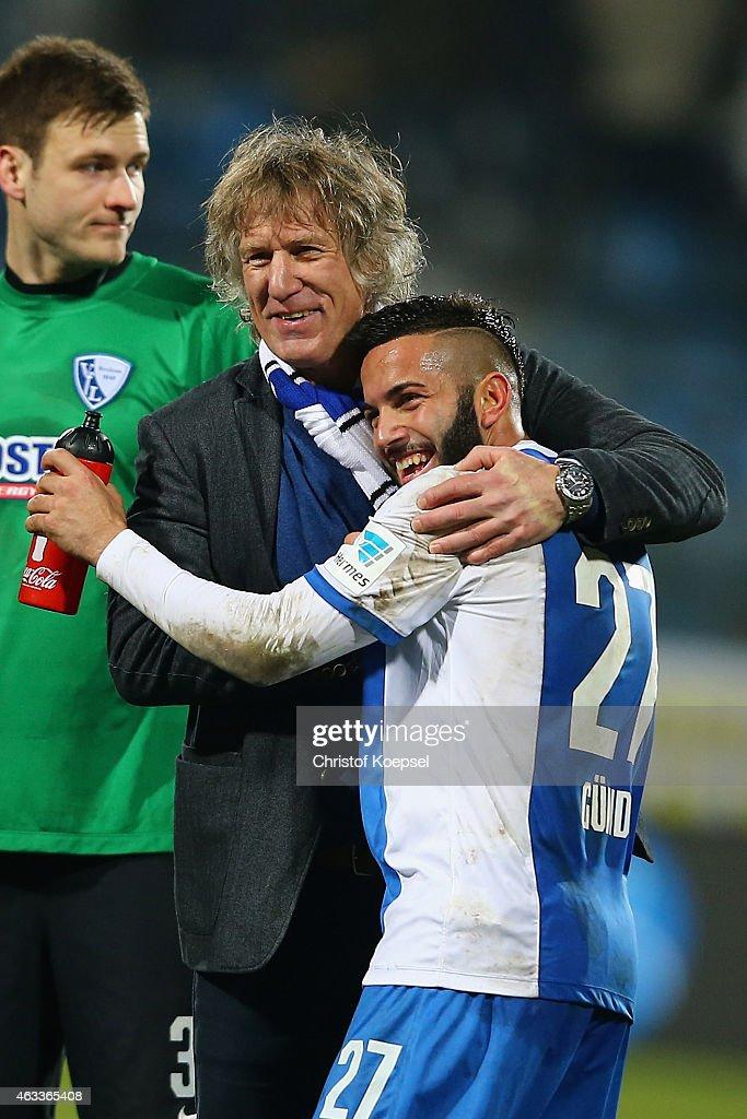 Head coach Gertjan Verbeek embraces Selim Guenduez of Bochum after winning the Second Bundesliga match between VfL Bochum and Eintracht Braunschweig...