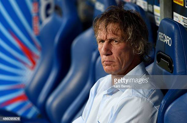 Head coach Gertjan Verbeek of Bochum looks on prior to the Second Bundesliga match between VfL Bochum and 1860 Muenchen at Rewirpower Stadium on...