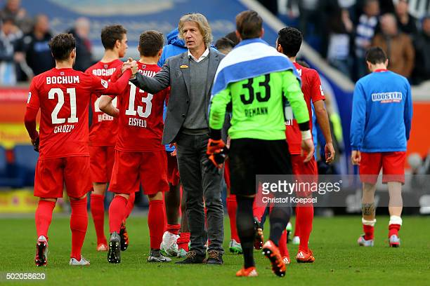 Head coach Gertjan Verbeek of Bochum shake ahnds with Stefano Celozzi after the Second Bundesliga match between MSV Duisburg and VfL Bochum at...