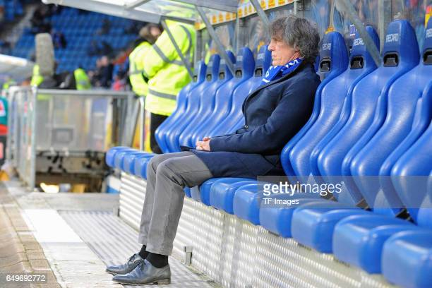 Head coach Gertjan Verbeek of Bochum sits on the bench during the Second Bundesliga match between VfL Bochum 1848 and Fortuna Duesseldorf at Vonovia...