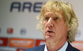Head coach Gertjan Verbeek of Bochum speaks at the press conference after the Second Bundesliga match between Arminia Bielefeld and VfL Bochum at...