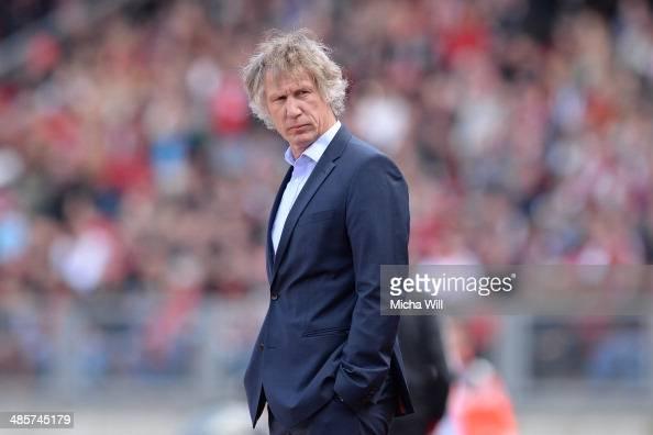 Head coach Gertjan Verbeek of Nuernberg looks on during the Bundesliga match between 1 FC Nuernberg and Bayer Leverkusen at Grundig Stadium on April...